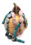 与宝石小珠子线的南瓜 免版税库存照片