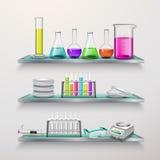 与实验室设备构成的架子 库存例证