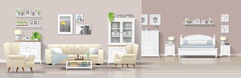 与客厅和卧室组合的现代乡间别墅内部背景 库存例证