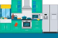 与家具和烹调设备的现代厨房内部 平的传染媒介例证 库存例证