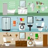 与家具的卫生间内部 在平的样式的传染媒介例证 设计元素,浴缸,洗衣机,阵雨小卧室 库存图片