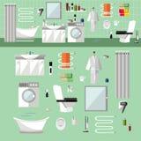 与家具的卫生间内部 在平的样式的传染媒介例证 设计元素,浴缸,洗衣机,洗手间 免版税库存图片