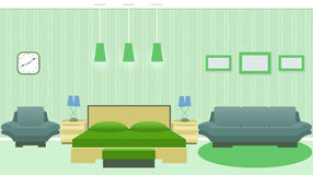 与家具的现代卧室内部包括床,扶手椅子,沙发,在墙壁上的photoframes 向量例证