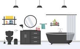 与家具的现代卫生间内部在平的样式 库存照片