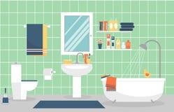 与家具的现代卫生间内部在舱内甲板 免版税库存照片