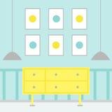 与家具的现代客厅内部 免版税库存照片