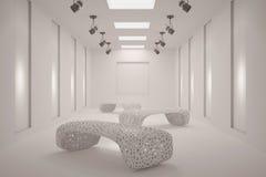 与家具的白色干净的空白的画廊 库存图片