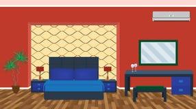 与家具,轻的设备,空调的明亮的豪华卧室内部 向量例证