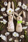 与家庭做的bannies、鸡蛋、花和12月的复活节背景 库存图片