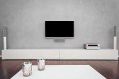 有电视的现代客厅 向量例证