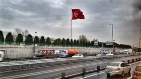 与家庭的另一个红旗Turkiye假日 免版税库存图片