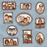 与家庭画象的逗人喜爱的画框 免版税库存照片