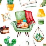 与家植物的舒适家庭无缝的样式,与逗人喜爱的小猫,书,鲜美蛋糕,坐垫,灯的绿色椅子 皇族释放例证
