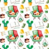 与家植物的舒适家庭无缝的样式,与逗人喜爱的小猫,书,鲜美蛋糕,坐垫,灯的绿色椅子 向量例证
