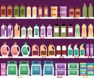 与家用化工产品的架子在超级市场 向量例证