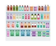 与家用化工产品的架子在超级市场 库存例证