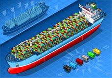 与容器的等量货船在正面图 免版税库存图片