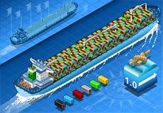 与容器的等量货船在背面图的航海 库存照片