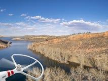 与寄生虫推进器的Aeiral风景 免版税库存图片