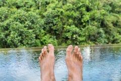 与密林全景的无限水池 免版税库存照片