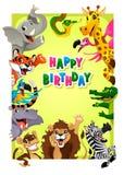 与密林动物的生日快乐卡片 免版税库存照片