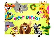 与密林动物的生日快乐卡片 免版税图库摄影