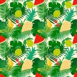 与密林叶子和果子,时髦花卉背景的热带无缝的样式 库存图片