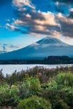 与富士山和河口湖的日本风景 免版税库存照片