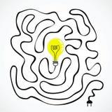 与导线迷宫的想法电灯泡 免版税库存图片