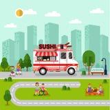 与寿司搬运车的城市风景 库存照片
