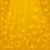 与射线和bokeh的欢乐金黄方形的背景 皇族释放例证