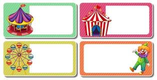 与小丑和马戏场帐篷的标签设计 库存照片