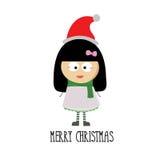 与小女孩动画片的圣诞快乐 免版税库存照片
