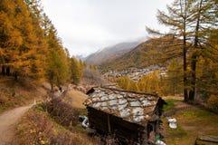 与小屋的美好的秋天风景和策马特依靠 免版税库存图片