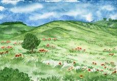 与小山和草甸的水彩风景有一棵孤立树的 免版税库存图片
