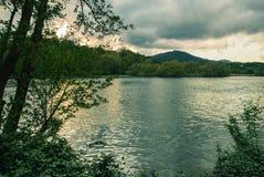 与小山的河流动和植被在背景 免版税库存图片