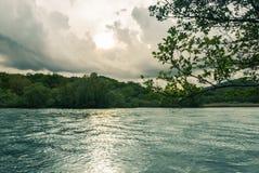 与小山的河流动和植被在背景 库存照片