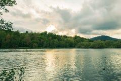 与小山的河流动和植被在背景 图库摄影