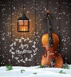 与小提琴和老灯笼的圣诞节背景 向量例证