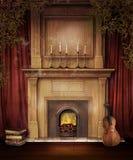 与小提琴的老壁炉 皇族释放例证