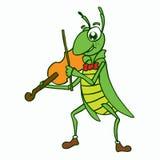 与小提琴T恤杉设计的昆虫传染媒介 库存例证