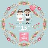 与小新娘,新郎,花卉框架的婚礼邀请 免版税库存照片