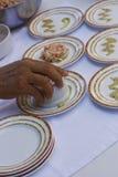 与小板材的鲜美食品预习功课 库存照片