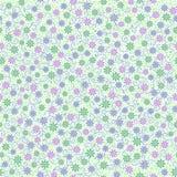 与小柔和的雏菊的无缝的样式在桃红色,绿色开花 向量例证