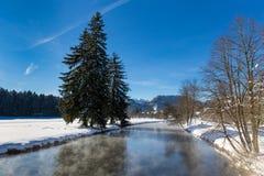 与小河的冬天风景 免版税图库摄影