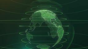与小点世界地图HUD的动画地球和infographic图表酒吧元素在黑暗的背景转动 摘要的动画 向量例证