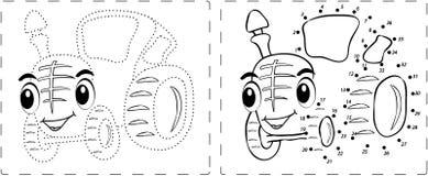 与小点和数字的滑稽的拖拉机图画 免版税库存图片
