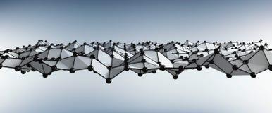 与小点和线3D翻译的抽象波浪 免版税库存图片