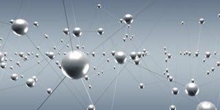 与小点和线3D翻译的抽象连接波浪 免版税库存照片