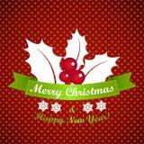 与小点的红色圣诞节背景 库存例证